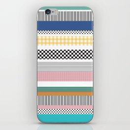 Mixed Pattern Stripe Print Color Blocking iPhone Skin