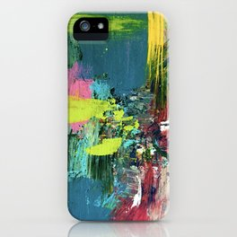 Excited: a vibrant, colorful, dynamic acrylic piece in various colors iPhone Case