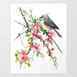 Titmouse and Cherry Blossom, birds and flowers design artwork Art Print