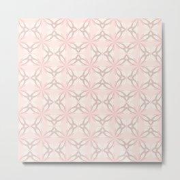 Romantic Pink and Grey Flowers Metal Print