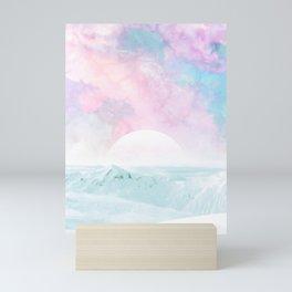Winter Landscape on Candy Marble Sky Mini Art Print