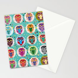 funny colored owls on a turquoise background Stationery Cards