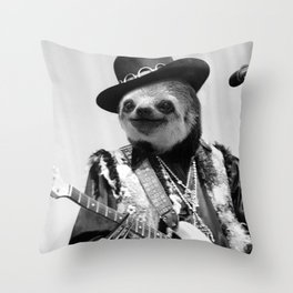 Rockstar Sloth #2 Throw Pillow