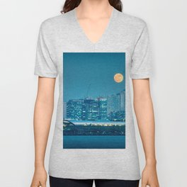 Super Moon over city skyline Unisex V-Neck