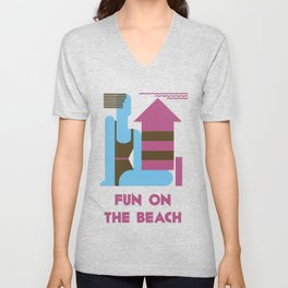 Fun on the beach jazz age Unisex V-Neck