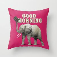 good morning Throw Pillows featuring Good Morning by Eric Fan