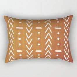 Mudcloth White Geometric Shapes in Ochre Burnt Orange Rectangular Pillow