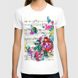 Musical Beauty - Floral Abstract - Piano Notes T-shirt