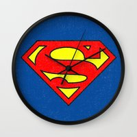 superman Wall Clocks featuring Superman by Alisa Galitsyna