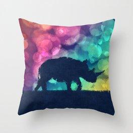 Pop Art Rhinoceros Throw Pillow
