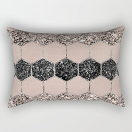 Blush Hexagon Glitter Glam #1 #geometric #decor #art #society6 Rectangular Pillow