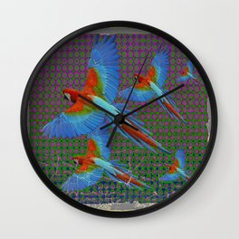 SHABBY CHIC BLUE MACAWS FLIGHT Wall Clock