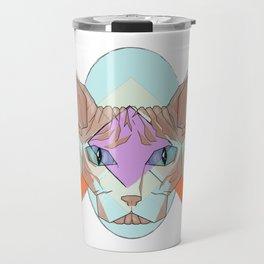 Geometric Hairless Cat Travel Mug