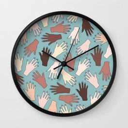 Nail Expert Studio - Colorful Manicured Hands Pattern Wall Clock