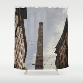 Two Towers, Bologna, Emilia Romagna, Italy, street photography, Torre degli Asinelli, italian city Shower Curtain