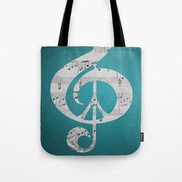 Music & Peace Aqua Sheets Tote Bag
