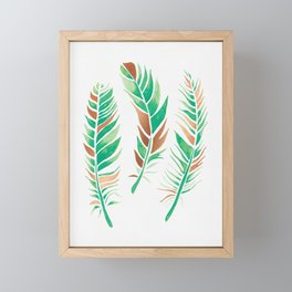Watercolour Feathers - Greenery and Copper Framed Mini Art Print
