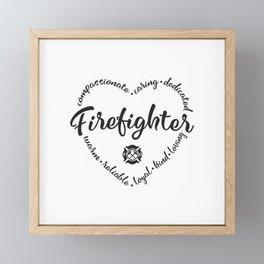 Firefighter, fire fighter, female, woman Framed Mini Art Print