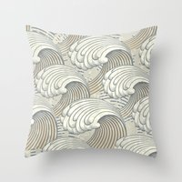 waves Throw Pillows featuring waves by Vickn