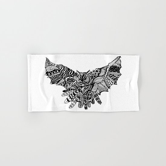 Dragon Owl (BW) Hand & Bath Towel