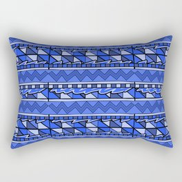 Latin American Pattern Blue. Zigzag Squares Triangle Patterns. Mexican Art. Funky Rectangular Pillow