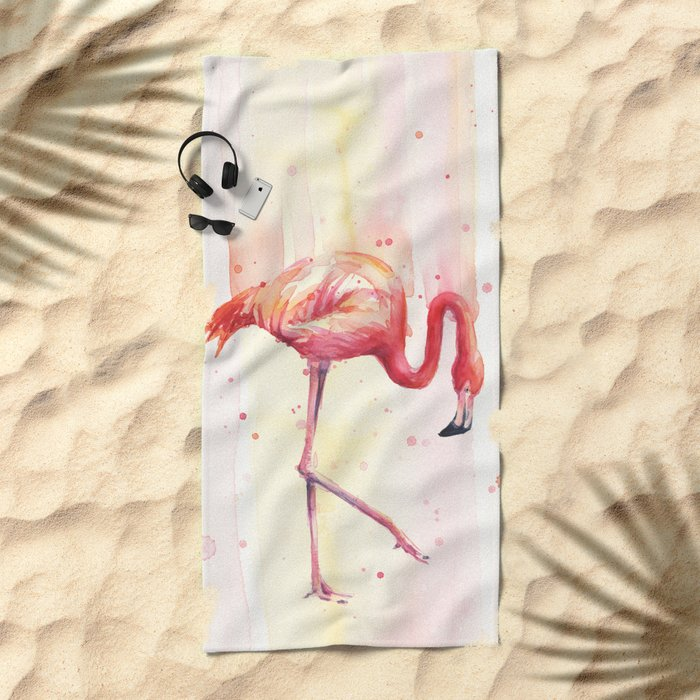 Pink Flamingo Rain | Facing Right Beach Towel