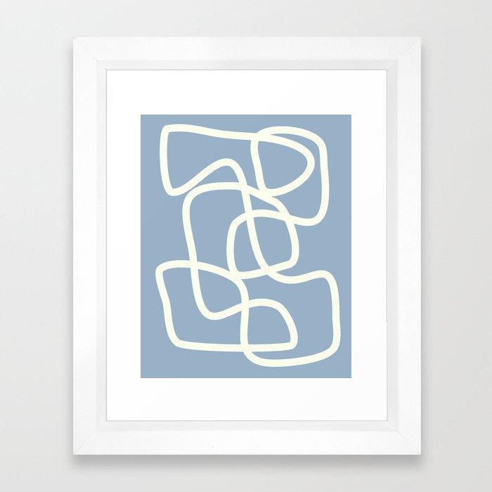 Maze in Gray Blue Framed Art Print