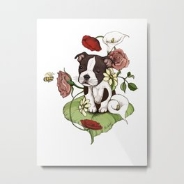 Boston Terrier Puppy Bouquet Metal Print