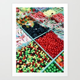 Colourful bulk candy display Art Print