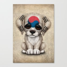 Cute Puppy Dog with flag of South Korea Canvas Print