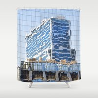 buildings Shower Curtains featuring Twisted Buildings by davehare