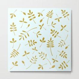 Gold Leaves Design on Light Blue Metal Print