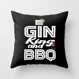 Gin King and BBQ Cocktail and BBQ Lover Throw Pillow