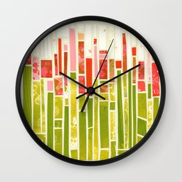 A field of red summer flowers Wall Clock