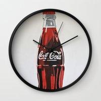 coca cola Wall Clocks featuring Coca-Cola by Marta Barguno Krieg