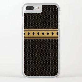 Rich Black Gold Diamond Pattern Design Clear iPhone Case