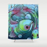 pisces Shower Curtains featuring Pisces by MelonBerri