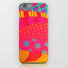 THE FASHIONISTA - Bright Vibrant Abstract Waves Mixed Media Whimsical Fashion Fabric Pattern iPhone 6s Slim Case
