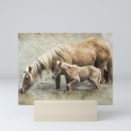 Safe By Mother's Side - South Steens Mustangs Mini Art Print