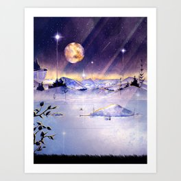 Moon Lake Scenery Art Print