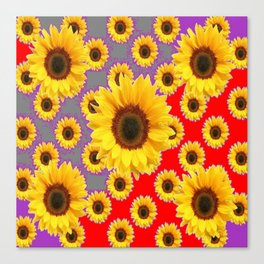 Sunflower Patterns on Red & Grey-Purple Color Canvas Print