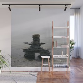Stone Inukshuk on The Shore Looking Out Over Calm Water ~ A Meaningful Messenger Wall Mural