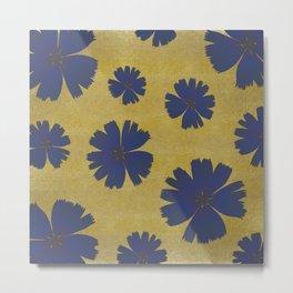 Indigo Flowers on Gold Metal Print