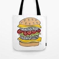 burger Tote Bags featuring Burger by Amber Lily Fryer