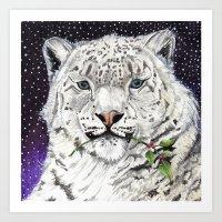snow leopard Art Prints featuring Snow Leopard by Shelli Graham