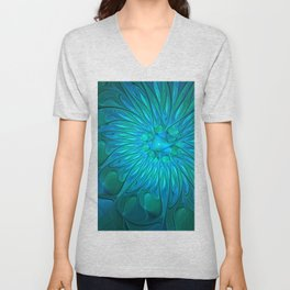 Floral in Sea Colors Unisex V-Neck