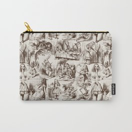 Alice in Wonderland | Toile de Jouy | Brown and Beige Carry-All Pouch