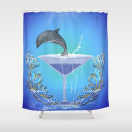 Dolphin jumping out of a glass Shower Curtain