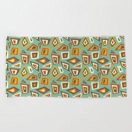 African Abstract Geometric Retro Beach Towel