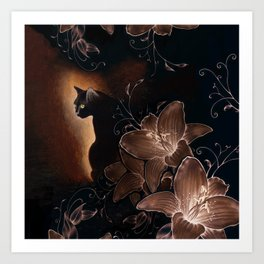 Black Kitty Halloween Art Print